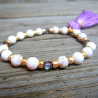 Beaded Stretch Bracelet with White Howlite Stone and Gold Glass Beads with Colorful Thread Tassel Customize Color for Summer