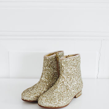 DOLLY by Le Petit Tom ® GLITTER BOOTS gold
