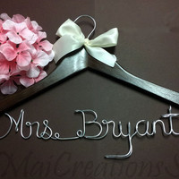 WEEKEND SALE. Personalized Bridal Wedding Hanger. Bridal Hanger. Bridal Party. Custome Hanger. Comes With Bow.