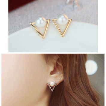 ER035 Girl fashion earrings jewelry personality triangle Imitation pearls stud earrings for women
