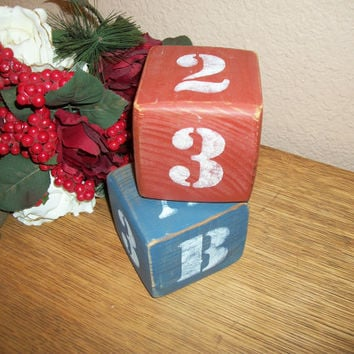 Wood Block Stenciled Alphabet and  Numbers Red White Blue Rustic Folk Art Americana Decor Book Ends