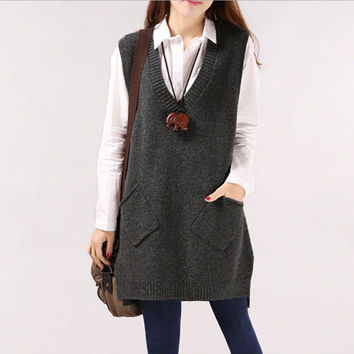 7 Colors Women Sweater 2016 Spring Autumn Winter Fashion Knit Collar Long Vest Sleeveless Women Sweater Loose Pockets