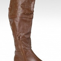 NY VIP SARINA-8-3 Over the Knee Leather Boots Boots Tall Boots COGNAC Bare Feet Shoes