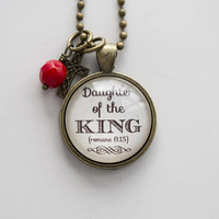 Daughter of the King Necklace - Romans 8:15 Christian Jewelry - Scripture Pendant Gift for Women - Inspirational Necklace - Bible Verse God