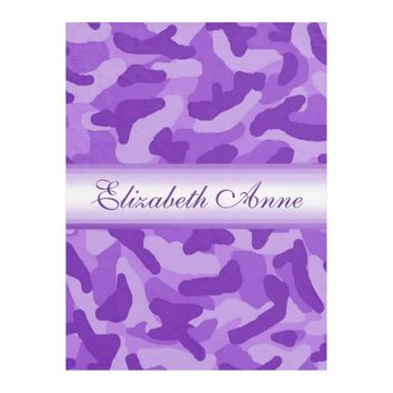 Personalized Purple Camo Camouflage Fleece Blanket