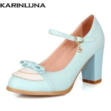 DCK7YE Karinluna Size 32-45 Classic Mary Jane Style Chunky High Heel Shoes Woman Sweet Bowtie