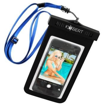 ONETOW Kobert Waterproof Cell Phone Case (Deluxe) - Dry Bag Pouch for Apple iPhone 8, 8 Plus, X, 6s, 6s Plus Samsung Galaxy s7, s7 Edge, s6, s6 Edge, Any Phone up to 6 Inches - Adjustable Lanyard