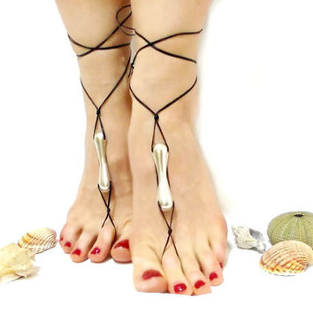 Black barefoot sandals, Luxury, Silvery metal, silvery metal beaded, barefoot sandal, chamois leather, Lurex rope, Anklet, gothic anklet