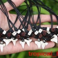 Shark Tooth with Brown Cartilage and Bone Beads Necklace