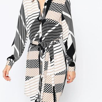 River Island Geometric Print Shirt Dress at asos.com