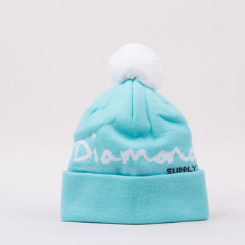 OG Script Pom Beanie in Diamond Blue