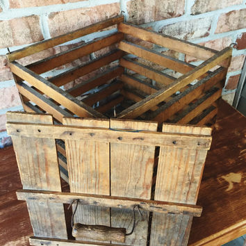 Primitive Wood Chicken Egg Crate Egg Carrier Egg Carton Holder
