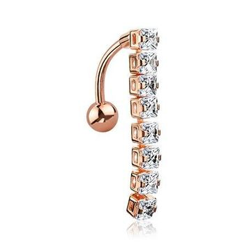 Rose Gold Classic Princess Gems Vertical Sparkle Reverse Belly Button Ring
