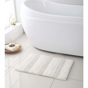 "100% Cotton- Reversible Bath Mat/ Rug- 17""x24""- White"