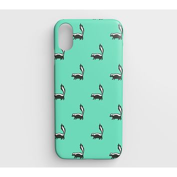 Skunk Cell Phone Case iPhone XS Max - Black on Light Green