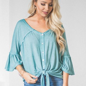Breezy Flutter Button Up Knot Top | Sea-Foam Blue