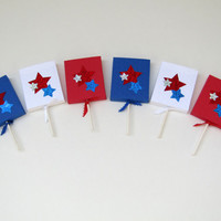 Stars Lollipop Party Favor - Patriotic Stars - Red, White and Blue  Patriotic Stars Wedding Favors - 4th of July Party Favors – Set of 12