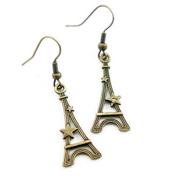Star Eiffel Tower - Antiqued Brass Vintage Style Dangle Earrings - CP033