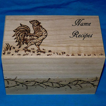 Personalized Recipe Box Custom Wood Burned Recipe Card Box Wedding Recipe Box Engraved Recipe Box Bridal Shower Gift
