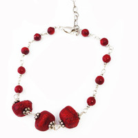 Bracelet with Red Coral and Thai Silver Beads in Sterling Silver - 591