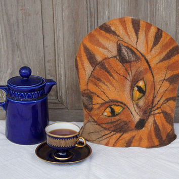 Felted tea cozy, ginger cat teapot cosy, tea warmer, gift for tea and cat lover. OOAK