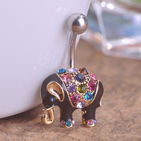 Black Enamel Elephant Belly Button Ring Crystal 18K Gold Plated