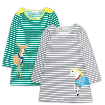 Autumn Cotton Princess Toddler Girl Dresses 2017 Long Sleeves Striped Jersey Kids Dresses Costumes Children Clothes