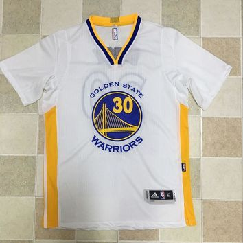 KUYOU Golden State Warriors Stephen Curry White 100% Authentic Jersey