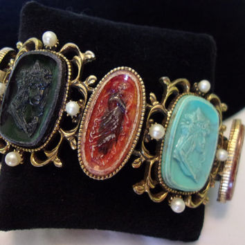Art Nouveau Greek Revival Cuff Jewelry Bracelet Turquoise Black Amber Lucite Chunky Brass
