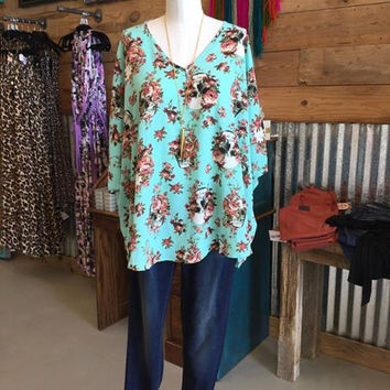 Women's Turquoise floral skull Avery Top