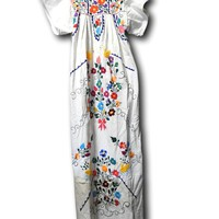 Authentic Vintage long Mexican dress hippie chic hipster traditional boho themed white women cream maxi floral embroidered fiesta Mexicana