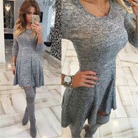 Gray Long Sleeve Skater Dress