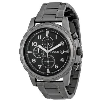 Fossil Dean Chronograph Black Dial Smoke Grey Ion-plated Mens Watch FS4721