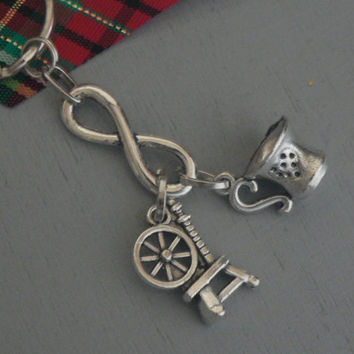 True Love Rumbelle Forever key Chain Purse Charm  Once Upon A Time  ABC Tv Show Inspired OUAT Belle Rumpelstiltskin