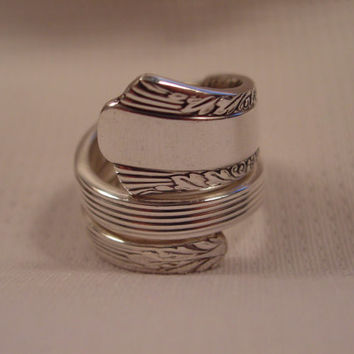 Size 8 1/2 Double Wrapped Spoon Ring By Spoon Rings Plus Antique Spoon and Fork Jewelry t54