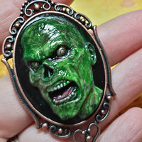 Zombie Cameo Necklace, Walking Dead Cameo, Zombie Necklace