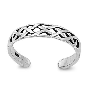 Sterling Silver Wicca Celtic Guile 3MM  Toe Ring/ Knuckle/ Mid-Finger