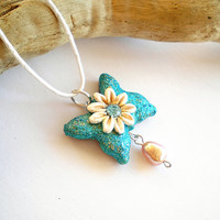 Mother necklace butterfly flower necklaceOOAK by FlowerLandShop