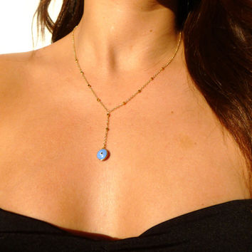 Evil Eye, 14kt Gold Filled Chain, Evil Eye Necklace, Middle Eastern, Wedding, Bridesmaid, Celebrity Jewelry, Holiday Gift