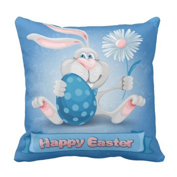 Cool Blue Happy Easter Throw Pillow