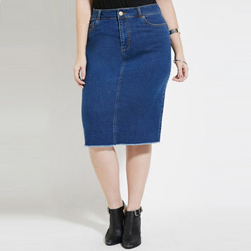 2017 5xl plus size women spring new fashion casual denim skirt pencil skirts female ZK1070