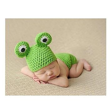 New Korean hand-knit newborn 0-3 months Infant Animal Crochet Baby Frog Photography Props Wool Baby Clothes One Hundred Days