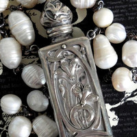 CHATELAINE Antique Sterling Silver Repousse Perfume Bottle Necklace. Large Freshwater Pearls. Art Nouveau Assemblage. Limited Series No.22