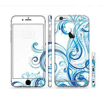 The Swirly Vector Water-Splash Pattern Sectioned Skin Series for the Apple iPhone 6