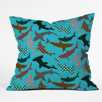 Raven Jumpo Polka Dot Sharks Throw Pillow