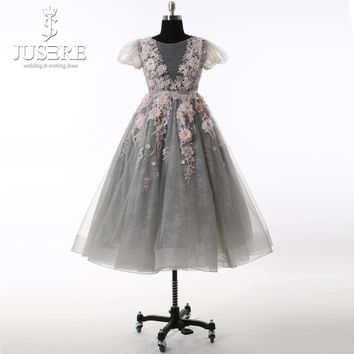 Baby Gown Grey Tulle Body Flowers Colorful Pleat Short Sleeves Floor Length Lovely Flower Girls Dress 2017