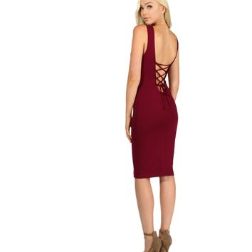 Burgundy No Limit Midi Dress