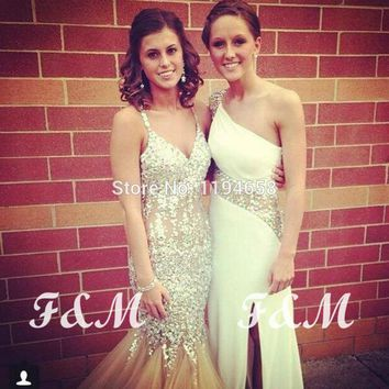 Champage New Arrival 2014 Halter Mermaid Prom Dresses Crystal Luxury Evening Gowns Formal Girl For Party