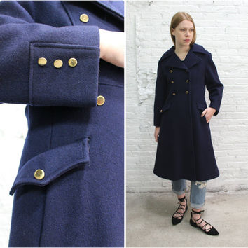 vintage 70s navy blue wool trench coat / navy blue wool coat