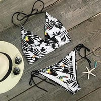 Cupshe Sheer By Nature Woodpecker Bikini Set